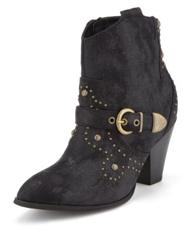 Limited Edition Western Studded Ankle Boots With Insolia® - predominant colour: black; occasions: casual, creative work; heel height: high; embellishment: studs; heel: block; toe: pointed toe; boot length: ankle boot; style: cowboy; finish: plain; pattern: plain; material: faux suede; season: a/w 2013