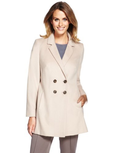 M&S Collection Double Breasted Coat With Wool - pattern: plain; style: double breasted; collar: standard lapel/rever collar; length: mid thigh; predominant colour: ivory/cream; occasions: casual, evening, work; fit: tailored/fitted; fibres: polyester/polyamide - mix; sleeve length: long sleeve; sleeve style: standard; collar break: medium; pattern type: fabric; texture group: woven bulky/heavy; season: a/w 2013