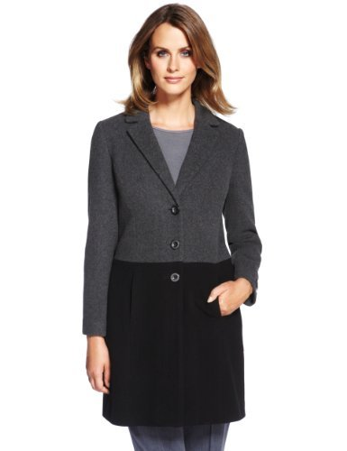 M&S Collection Wool Blend Colour Block Coat With Cashmere - style: single breasted; collar: standard lapel/rever collar; length: mid thigh; predominant colour: charcoal; secondary colour: black; occasions: casual, evening, work; fit: tailored/fitted; fibres: wool - mix; sleeve length: long sleeve; sleeve style: standard; collar break: medium; pattern type: fabric; pattern size: standard; pattern: colourblock; texture group: woven bulky/heavy; trends: masculine feminine; season: a/w 2013