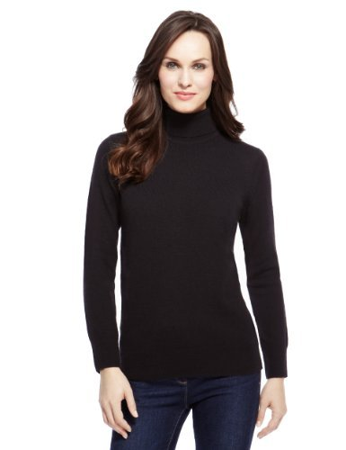 M&S Collection Pure Lambswool Polo Neck Jumper - pattern: plain; neckline: roll neck; style: standard; predominant colour: black; occasions: casual, work; length: standard; fibres: wool - 100%; fit: standard fit; sleeve length: long sleeve; sleeve style: standard; texture group: knits/crochet; pattern type: knitted - fine stitch; season: a/w 2013