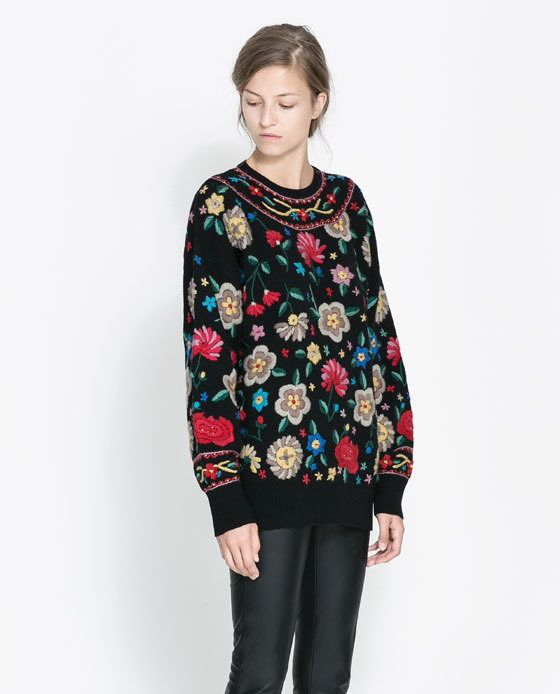 Sweater With Embroidered Flowers - sleeve style: dolman/batwing; length: below the bottom; style: standard; secondary colour: mid grey; predominant colour: black; occasions: casual, creative work; fibres: wool - mix; fit: loose; neckline: crew; sleeve length: long sleeve; texture group: knits/crochet; pattern type: knitted - other; pattern size: standard; pattern: florals; embellishment: embroidered; season: a/w 2013; wardrobe: highlight; embellishment location: all over