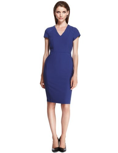 Autograph V Neck Panelled Shift Dress - style: shift; neckline: v-neck; fit: tailored/fitted; pattern: plain; predominant colour: navy; occasions: evening, work, occasion; length: just above the knee; fibres: polyester/polyamide - stretch; sleeve length: short sleeve; sleeve style: standard; texture group: cotton feel fabrics; pattern type: fabric; trends: 1940's hitchcock heroines, broody brights; season: a/w 2013