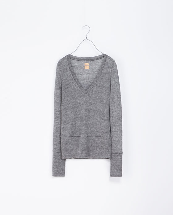 V Neck Sweater - neckline: low v-neck; pattern: plain; style: standard; predominant colour: light grey; occasions: casual, work, creative work; length: standard; fibres: wool - mix; fit: slim fit; sleeve length: long sleeve; sleeve style: standard; texture group: knits/crochet; pattern type: fabric; season: a/w 2013