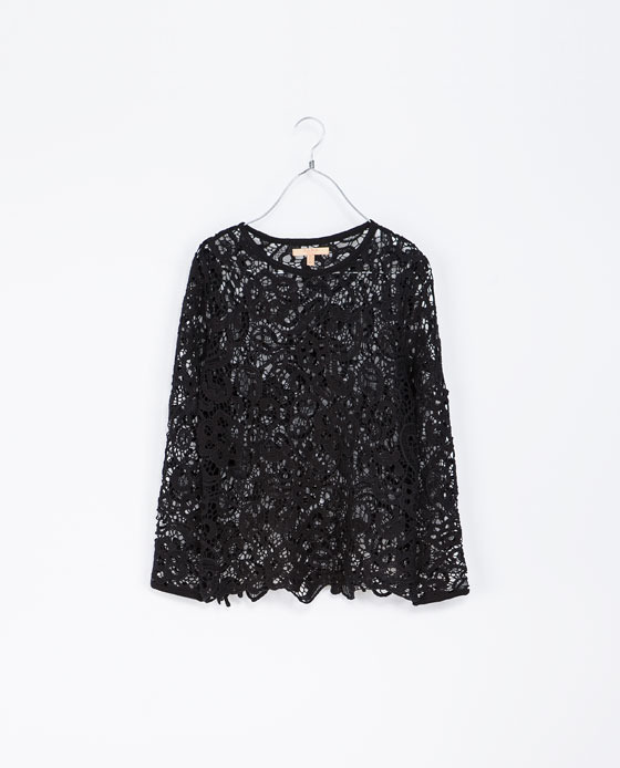 Silk Lace T Shirt - neckline: round neck; predominant colour: black; occasions: casual, evening, occasion, creative work; length: standard; style: top; fibres: cotton - 100%; fit: straight cut; sleeve length: long sleeve; sleeve style: standard; texture group: lace; pattern: patterned/print; trends: excess embellishment; season: a/w 2013