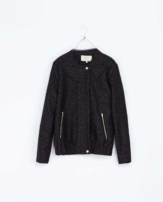 Jacquard Jacket - collar: round collar/collarless; style: bomber; predominant colour: black; secondary colour: black; occasions: casual, evening, creative work; length: standard; fit: straight cut (boxy); fibres: cotton - mix; sleeve length: long sleeve; sleeve style: standard; collar break: high; pattern type: fabric; pattern size: light/subtle; pattern: animal print; texture group: woven light midweight; trends: gothic romance; season: a/w 2013