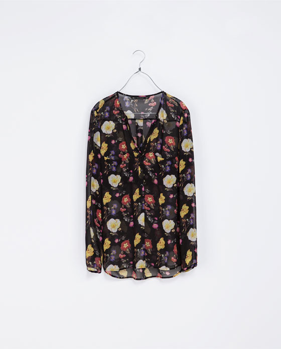 Floral Print Shirt With Pocket - neckline: low v-neck; length: below the bottom; style: blouse; predominant colour: black; occasions: casual, evening, creative work; fibres: polyester/polyamide - 100%; fit: loose; sleeve length: long sleeve; sleeve style: standard; texture group: sheer fabrics/chiffon/organza etc.; pattern type: fabric; pattern: florals; trends: broody brights; season: a/w 2013; pattern size: big & busy (top)