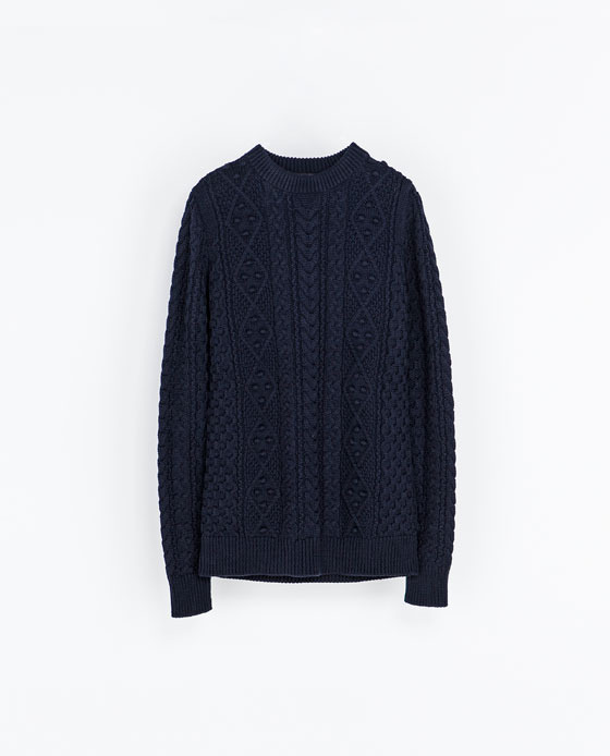 Cable Knit Sweater - length: below the bottom; style: standard; pattern: cable knit; predominant colour: navy; occasions: casual, work, creative work; fibres: cotton - 100%; fit: standard fit; neckline: crew; sleeve length: long sleeve; sleeve style: standard; texture group: knits/crochet; pattern type: knitted - big stitch; season: a/w 2013