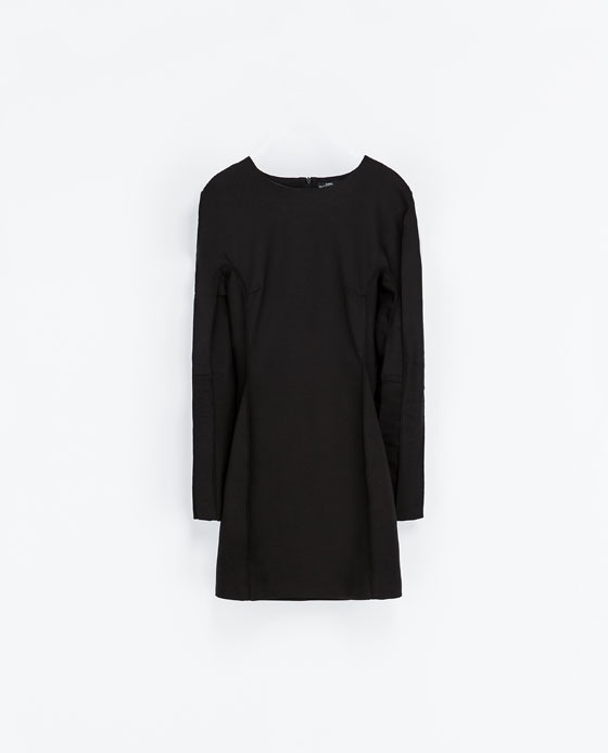 Short Fitted Dress - style: shift; length: mini; fit: tailored/fitted; pattern: plain; predominant colour: black; occasions: casual, evening, occasion, creative work; fibres: cotton - stretch; neckline: crew; sleeve length: long sleeve; sleeve style: standard; pattern type: fabric; texture group: other - light to midweight; trends: gothic romance; season: a/w 2013