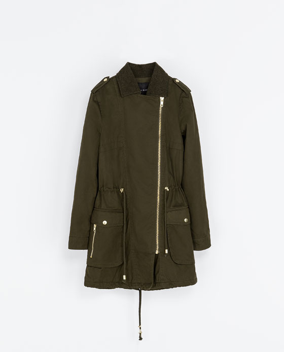 Cotton Crossover Parka - pattern: plain; shoulder detail: obvious epaulette; fit: loose; style: parka; length: mid thigh; predominant colour: khaki; occasions: casual; fibres: cotton - mix; collar: shirt collar/peter pan/zip with opening; waist detail: belted waist/tie at waist/drawstring; sleeve length: long sleeve; sleeve style: standard; texture group: cotton feel fabrics; collar break: high; pattern type: fabric; season: a/w 2013