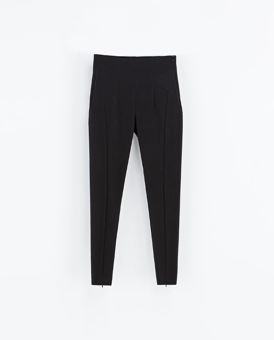 High Waist Leggings - length: standard; pattern: plain; style: leggings; waist: high rise; predominant colour: black; occasions: casual, evening, creative work; fibres: polyester/polyamide - stretch; texture group: lycra/elastane mixes; fit: skinny/tight leg; season: a/w 2013