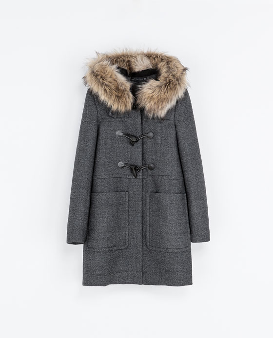 Duffle Coat With Fur Hood - pattern: plain; back detail: hood; collar: high neck; style: duffle coat; length: mid thigh; secondary colour: camel; predominant colour: mid grey; occasions: casual, evening, work, creative work; fit: straight cut (boxy); fibres: wool - mix; sleeve length: long sleeve; sleeve style: standard; collar break: high; pattern type: fabric; texture group: woven bulky/heavy; embellishment: fur; trends: masculine feminine; season: a/w 2013; hip detail: front pockets at hip