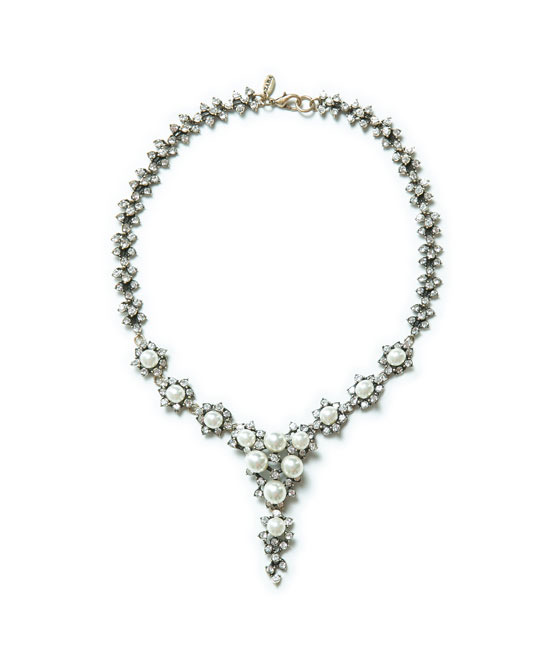 Crystal Necklace - secondary colour: gold; occasions: evening, occasion; length: short; size: large/oversized; material: chain/metal; finish: plain; embellishment: crystals/glass; predominant colour: clear; style: bib/statement; season: a/w 2013