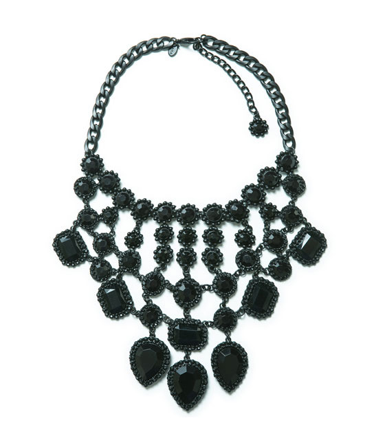 Gothic Style Rhinestone Necklace - predominant colour: black; occasions: evening, occasion; length: mid; size: large/oversized; material: chain/metal; finish: plain; embellishment: jewels/stone; style: bib/statement; season: a/w 2013