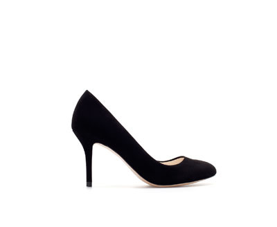 Suede Court Shoe - predominant colour: black; occasions: evening, work, occasion, creative work; material: suede; heel height: high; heel: stiletto; toe: pointed toe; style: courts; finish: plain; pattern: plain; season: a/w 2013