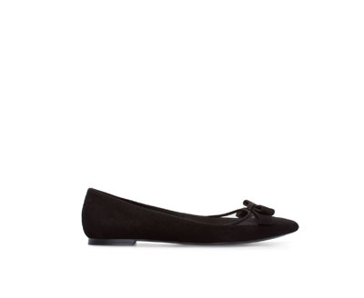 Suede Ballerina With Bow - predominant colour: black; occasions: casual, evening, work, creative work; material: suede; heel height: flat; toe: pointed toe; style: ballerinas / pumps; finish: plain; pattern: plain; embellishment: bow; season: a/w 2013