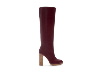 Leather Platform Boot With Block Heel - predominant colour: burgundy; material: leather; heel height: high; heel: block; toe: round toe; boot length: knee; style: standard; finish: plain; pattern: plain; occasions: creative work; season: a/w 2013