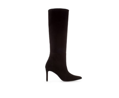Suede Pointed Boot - predominant colour: black; material: suede; heel height: high; heel: stiletto; toe: pointed toe; boot length: knee; style: standard; finish: plain; pattern: plain; occasions: creative work; season: a/w 2013