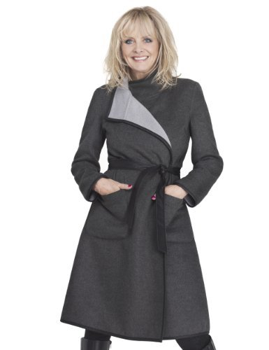 Twiggy For M&S Collection Reversible Wrap Belted Coat With Wool - pattern: plain; collar: funnel; style: double breasted; length: on the knee; predominant colour: charcoal; occasions: casual, evening, work, creative work; fit: tailored/fitted; fibres: polyester/polyamide - mix; waist detail: belted waist/tie at waist/drawstring; sleeve length: long sleeve; sleeve style: standard; collar break: high/illusion of break when open; pattern type: fabric; texture group: woven bulky/heavy; season: a/w 2013