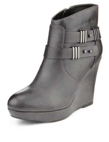 Limited Edition Platform Wedge Ankle Boots With Insolia® - predominant colour: black; occasions: casual, creative work; material: faux leather; heel height: high; embellishment: buckles; heel: wedge; toe: round toe; boot length: ankle boot; style: standard; finish: plain; pattern: plain; shoe detail: platform; season: a/w 2013