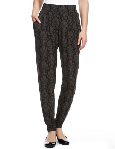 M&S Collection Floral Harem Trousers - length: standard; style: harem/slouch; waist: high rise; pocket detail: pockets at the sides; secondary colour: charcoal; predominant colour: black; occasions: casual, evening, creative work; fibres: viscose/rayon - stretch; fit: tapered; pattern type: fabric; pattern: florals; texture group: jersey - stretchy/drapey; season: a/w 2013; pattern size: light/subtle (bottom)
