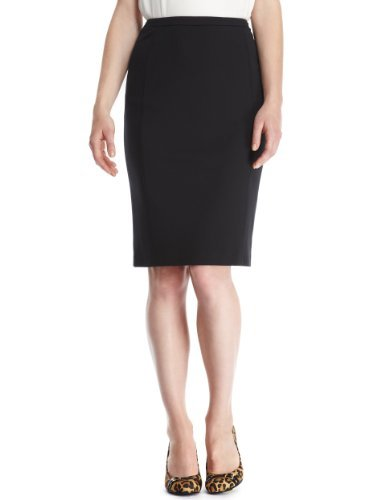 M&S Collection Stretch Ponte Skirt - pattern: plain; style: pencil; fit: tailored/fitted; waist: high rise; predominant colour: black; occasions: evening, work; length: on the knee; fibres: polyester/polyamide - mix; pattern type: fabric; texture group: other - light to midweight; season: a/w 2013