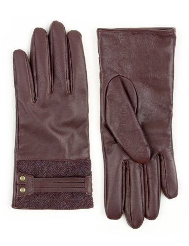 M&S Collection Leather Herringbone Tweed Gloves - predominant colour: burgundy; occasions: casual, work; style: standard; length: wrist; material: leather; pattern: plain; trends: broody brights; season: a/w 2013