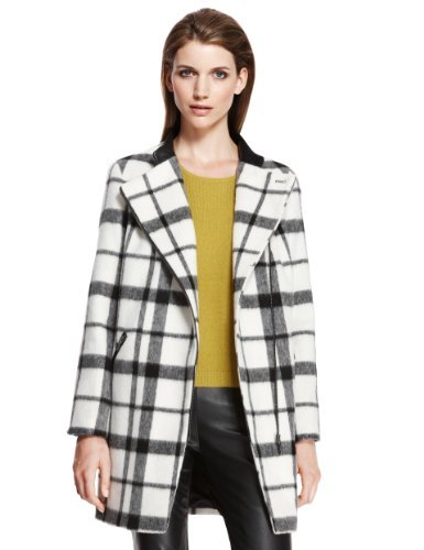 Autograph Checked Biker Coat With Wool - pattern: checked/gingham; length: below the bottom; collar: asymmetric biker; style: single breasted; secondary colour: white; predominant colour: black; occasions: casual, evening, work, creative work; fit: straight cut (boxy); fibres: wool - mix; sleeve length: long sleeve; sleeve style: standard; collar break: high/illusion of break when open; pattern type: fabric; pattern size: standard; texture group: woven bulky/heavy; season: a/w 2013
