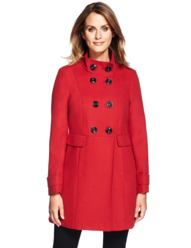 M&S Collection Double Breasted Funnel Neck Coat - pattern: plain; style: double breasted; length: mid thigh; predominant colour: true red; occasions: casual, evening, work; fit: tailored/fitted; fibres: polyester/polyamide - mix; collar: shirt collar/peter pan/zip with opening; shoulder detail: discreet epaulette; sleeve length: long sleeve; sleeve style: standard; collar break: high/illusion of break when open; pattern type: fabric; texture group: woven light midweight; trends: broody brights; season: a/w 2013