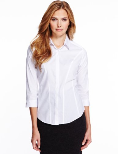 M&S Collection No Peep™ Dobby Concealed Fastening Corset Shirt - neckline: shirt collar/peter pan/zip with opening; pattern: plain; length: below the bottom; style: shirt; predominant colour: white; occasions: casual, work; fibres: polyester/polyamide - stretch; fit: tailored/fitted; sleeve length: 3/4 length; sleeve style: standard; texture group: cotton feel fabrics; pattern type: fabric; trends: masculine feminine; season: a/w 2013