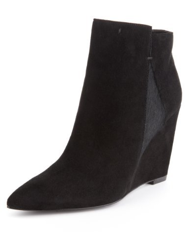 Autograph Suede Water Resistant Pointed Toe Wedge Boots With Insolia® - predominant colour: black; occasions: casual, creative work; material: suede; heel height: high; heel: wedge; toe: pointed toe; boot length: ankle boot; style: standard; finish: plain; pattern: plain; season: a/w 2013