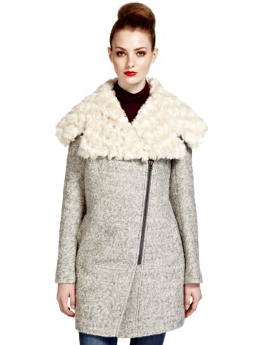 Limited Edition Wool Blend Large Faux Fur Collar Coat - pattern: plain; style: single breasted; fit: slim fit; length: mid thigh; secondary colour: ivory/cream; predominant colour: light grey; occasions: casual, creative work; fibres: wool - mix; sleeve length: long sleeve; sleeve style: standard; collar: fur; collar break: medium; pattern type: fabric; texture group: woven bulky/heavy; embellishment: fur; season: a/w 2013; wardrobe: highlight; embellishment location: neck, shoulder