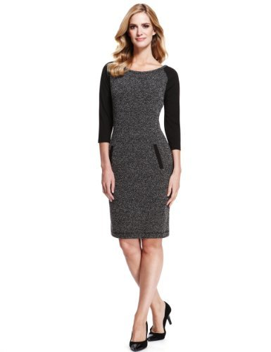 M&S Collection Tunic Tweed Dress - style: shift; neckline: round neck; fit: tailored/fitted; pattern: herringbone/tweed; predominant colour: charcoal; secondary colour: black; occasions: evening, work, occasion; length: just above the knee; fibres: polyester/polyamide - mix; sleeve length: 3/4 length; sleeve style: standard; pattern type: fabric; pattern size: standard; texture group: tweed - light/midweight; trends: 1940's hitchcock heroines; season: a/w 2013