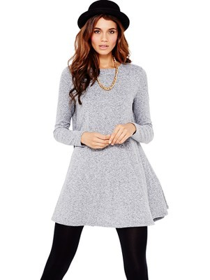 Swing Dress, Grey - style: smock; length: mid thigh; neckline: round neck; fit: loose; pattern: plain; predominant colour: light grey; occasions: casual, creative work; fibres: polyester/polyamide - stretch; hip detail: soft pleats at hip/draping at hip/flared at hip; sleeve length: long sleeve; sleeve style: standard; pattern type: fabric; texture group: jersey - stretchy/drapey; season: a/w 2013