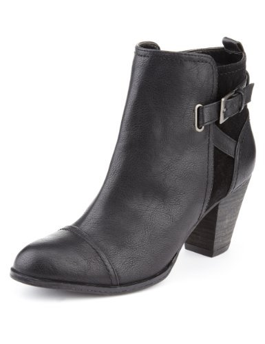 M&S Collection Ankle Boots With Insolia® - predominant colour: black; occasions: casual, creative work; material: faux leather; heel height: mid; embellishment: buckles; heel: block; toe: round toe; boot length: ankle boot; style: standard; finish: plain; pattern: plain; season: a/w 2013