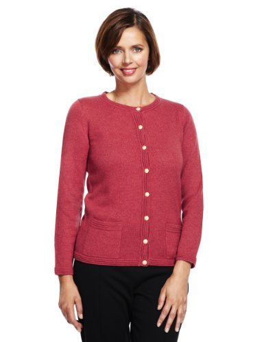 Classic Ripple Cardigan With Lambswool - neckline: round neck; pattern: plain; occasions: casual, work, creative work; length: standard; style: standard; fibres: acrylic - mix; fit: slim fit; sleeve length: long sleeve; sleeve style: standard; texture group: knits/crochet; pattern type: knitted - fine stitch; trends: broody brights; predominant colour: raspberry; season: a/w 2013