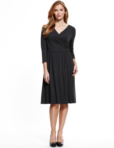 M&S Collection Ruched Waist Wrap Dress - style: faux wrap/wrap; neckline: low v-neck; pattern: plain; predominant colour: black; occasions: casual, evening, work, creative work; length: on the knee; fit: body skimming; fibres: viscose/rayon - stretch; sleeve length: 3/4 length; sleeve style: standard; pattern type: fabric; texture group: jersey - stretchy/drapey; season: a/w 2013