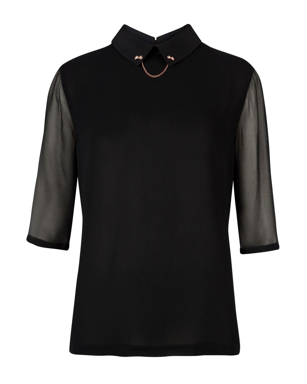 Irris Bow Chain Collar Shirt, Black - pattern: plain; predominant colour: black; occasions: casual, evening, work, creative work; length: standard; style: top; fibres: polyester/polyamide - 100%; fit: body skimming; neckline: no opening/shirt collar/peter pan; sleeve length: 3/4 length; sleeve style: standard; texture group: sheer fabrics/chiffon/organza etc.; pattern type: fabric; embellishment: chain/metal; season: a/w 2013; wardrobe: highlight; embellishment location: neck