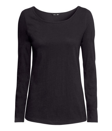 Top In Slub Jersey - neckline: round neck; pattern: plain; predominant colour: black; occasions: casual, work; length: standard; style: top; fibres: cotton - 100%; fit: body skimming; sleeve length: long sleeve; sleeve style: standard; pattern type: fabric; texture group: jersey - stretchy/drapey; season: a/w 2013
