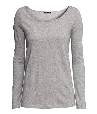 Top In Slub Jersey - neckline: round neck; pattern: plain; predominant colour: light grey; occasions: casual; length: standard; style: top; fibres: cotton - 100%; fit: body skimming; sleeve length: long sleeve; sleeve style: standard; pattern type: fabric; texture group: jersey - stretchy/drapey; season: a/w 2013