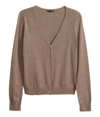 Fine Knit Cardigan - neckline: low v-neck; pattern: plain; predominant colour: taupe; occasions: casual, work, creative work; length: standard; style: standard; fibres: cotton - mix; fit: standard fit; sleeve length: long sleeve; sleeve style: standard; texture group: knits/crochet; pattern type: knitted - fine stitch; season: a/w 2013
