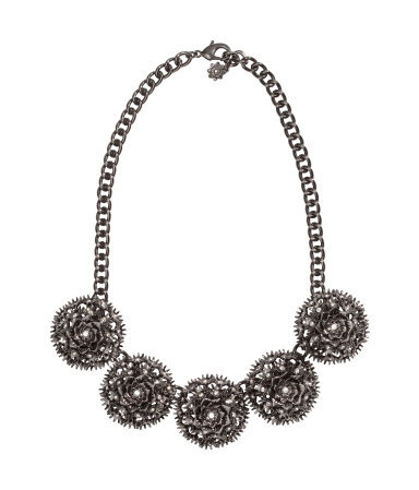 Sparkly Necklace - predominant colour: charcoal; occasions: casual, evening, work, occasion, creative work; length: short; size: large/oversized; material: chain/metal; finish: metallic; embellishment: crystals/glass; style: bib/statement; season: a/w 2013