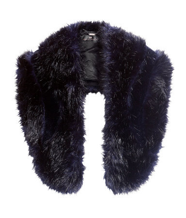 Fake Fur Collar - predominant colour: black; occasions: casual, evening, occasion, creative work; type of pattern: small; material: faux fur; pattern: plain; size: small; embellishment: fur; style: stole; season: a/w 2013