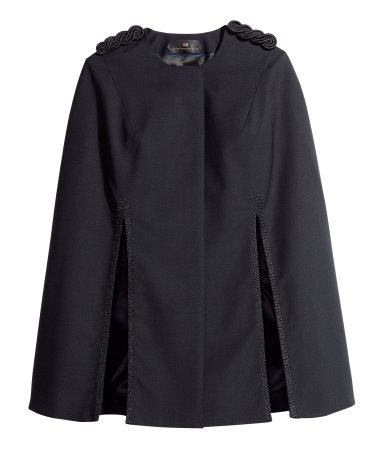 Cape - pattern: plain; length: below the bottom; shoulder detail: obvious epaulette; collar: round collar/collarless; fit: loose; style: cape; predominant colour: black; occasions: casual, evening, occasion, creative work; fibres: polyester/polyamide - stretch; sleeve length: long sleeve; collar break: high; pattern type: fabric; texture group: woven bulky/heavy; sleeve style: cape/poncho sleeve; season: a/w 2013