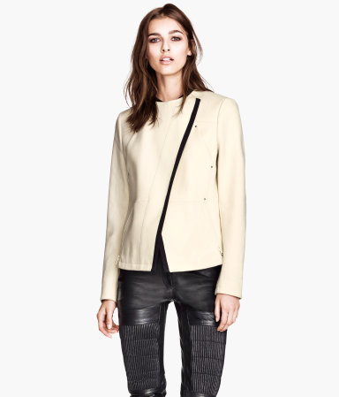 Wool Biker Jacket - pattern: plain; style: biker; collar: asymmetric biker; predominant colour: ivory/cream; occasions: casual, work, creative work; length: standard; fit: straight cut (boxy); fibres: wool - mix; sleeve length: long sleeve; sleeve style: standard; collar break: high/illusion of break when open; texture group: woven light midweight; season: a/w 2013