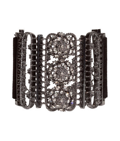 Sparkly Stone Bracelet - predominant colour: silver; occasions: evening, occasion, creative work; style: cuff; size: standard; material: chain/metal; finish: metallic; embellishment: crystals/glass; trends: excess embellishment, gothic romance; season: a/w 2013