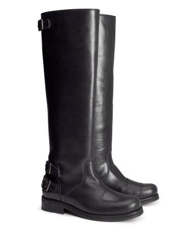 Biker Boots - predominant colour: black; occasions: casual, work; material: leather; heel height: mid; embellishment: buckles; heel: standard; toe: pointed toe; boot length: knee; style: biker boot; finish: plain; pattern: plain; trends: gorgeous grunge; season: a/w 2013