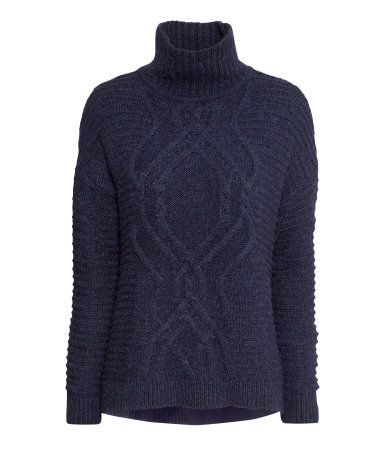 Knitted Polo Neck Jumper - neckline: roll neck; style: standard; pattern: cable knit; predominant colour: navy; occasions: casual, creative work; length: standard; fibres: acrylic - mix; fit: standard fit; sleeve length: long sleeve; sleeve style: standard; texture group: knits/crochet; pattern type: knitted - other; pattern size: standard; trends: broody brights; season: a/w 2013