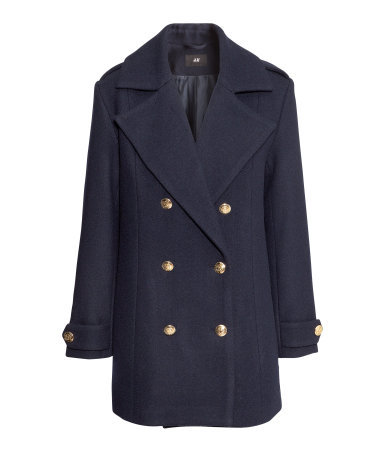 Reefer Jacket - pattern: plain; collar: wide lapels; style: double breasted; length: mid thigh; predominant colour: navy; occasions: casual, evening, work, creative work; fit: straight cut (boxy); fibres: wool - mix; sleeve length: long sleeve; sleeve style: standard; collar break: medium; texture group: woven bulky/heavy; season: a/w 2013