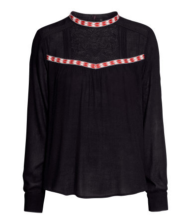 Embroidered Blouse - pattern: plain; style: blouse; secondary colour: true red; predominant colour: black; occasions: casual, evening, creative work; length: standard; fibres: viscose/rayon - 100%; fit: loose; neckline: crew; bust detail: contrast pattern/fabric/detail at bust; sleeve length: long sleeve; sleeve style: standard; texture group: sheer fabrics/chiffon/organza etc.; season: a/w 2013