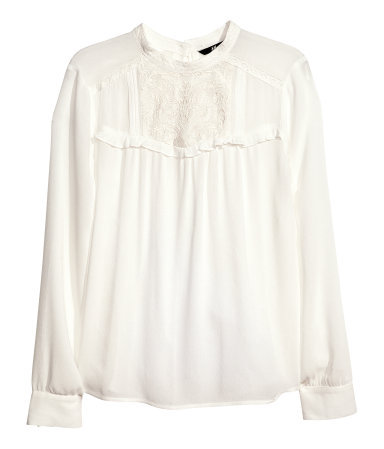 Embroidered Blouse - pattern: plain; neckline: high neck; predominant colour: ivory/cream; occasions: casual, evening, work, creative work; length: standard; style: top; fibres: viscose/rayon - 100%; fit: loose; bust detail: contrast pattern/fabric/detail at bust; sleeve length: long sleeve; sleeve style: standard; texture group: sheer fabrics/chiffon/organza etc.; pattern type: fabric; season: a/w 2013